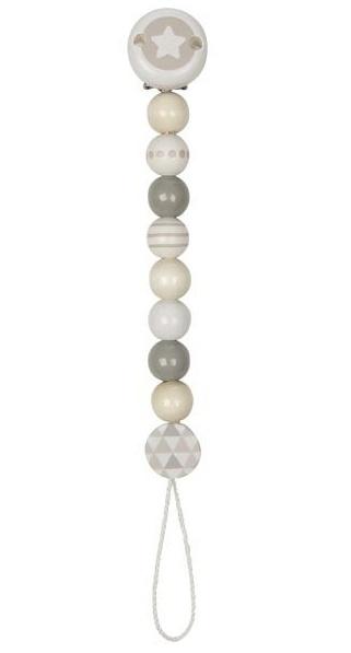 Goki Dřevěný řetízek na dudlík 17 cm - Hvězdička, šedo-bílá