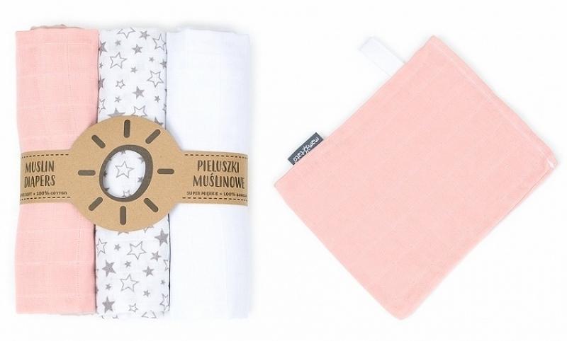 Mamo Tato Mušelínové plenky 3ks + žínka zdarma - bílá, hvězdičky, růžová
