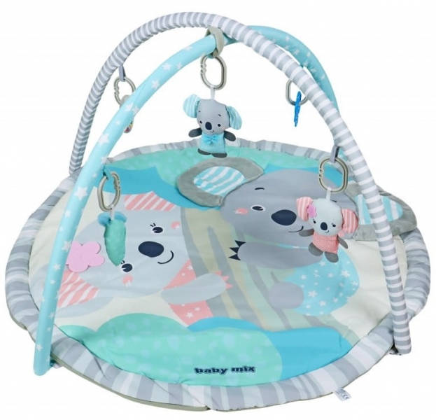BABY MIX Vzdělávací hrací deka - Koala, modrá