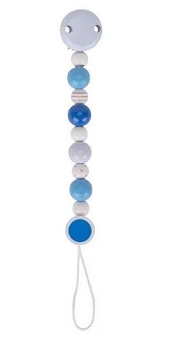 Goki Dřevěný řetízek na dudlík 16 cm - Modro -bílý