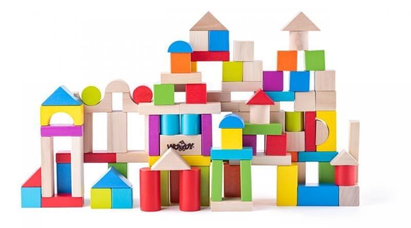 Woody Dřevěné kostky, stavebnice v kyblíku - 100ks