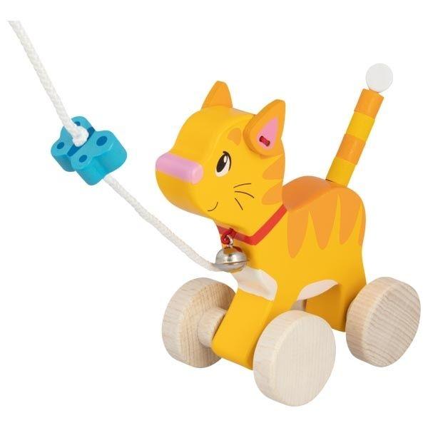 Goki Edukační dřevěná hračka s rolničkou, 15 cm tahací - Kočička