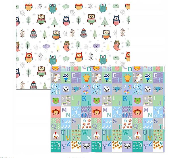 Kidsee Skládací oboustranná pěnová hrací deka, koberec 150x200cm - Sovičky a číslice
