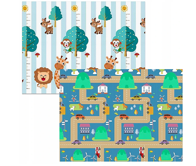 Kidsee Skládací oboustranná pěnová hrací deka, koberec 150x200cm - Zvířátka a auta