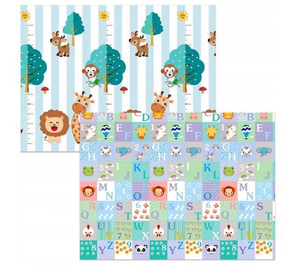 Kidsee Skládací oboustranná pěnová hrací deka, koberec 150x200cm - Zvířátka a abeceda