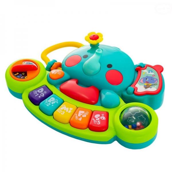 Euro Baby Interaktivní hračka s melodii pianko - Sloník, zelený