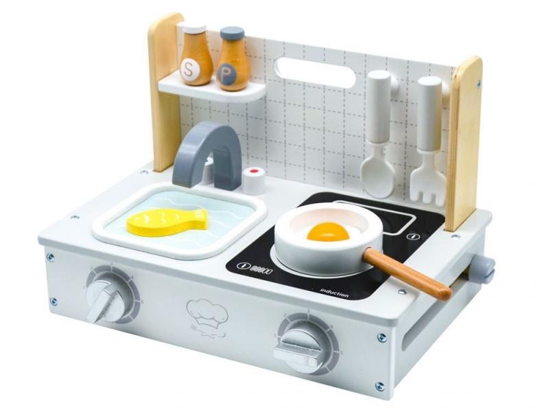 Dřevěná mini kuchyňka ECOTOYS, 25x34x21cm