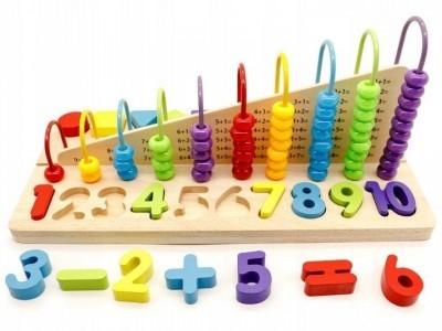 Eco toys Edukační dřevěná hračka, počítadlo + dřevěné kostky