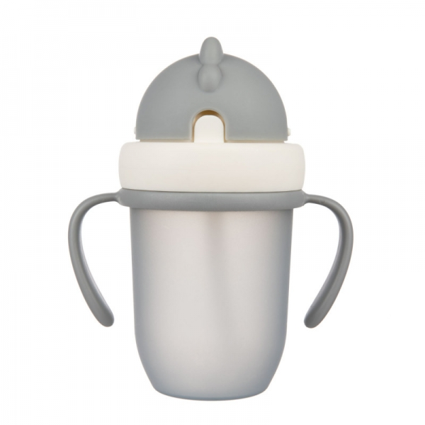 Canpol babies Hrníček se silikonovou slámkou - šedý, 210 ml