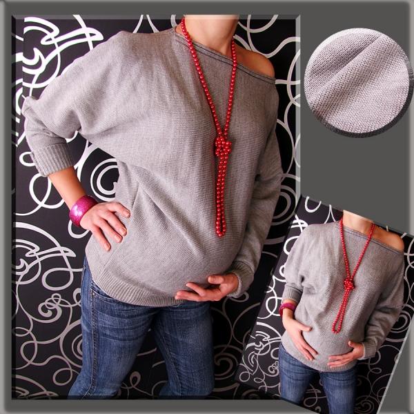 Těhotenský asymetrický svetřík - šedá