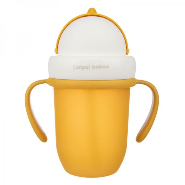 Canpol babies Hrníček se silikonovou slámkou - žlutý, 210 ml