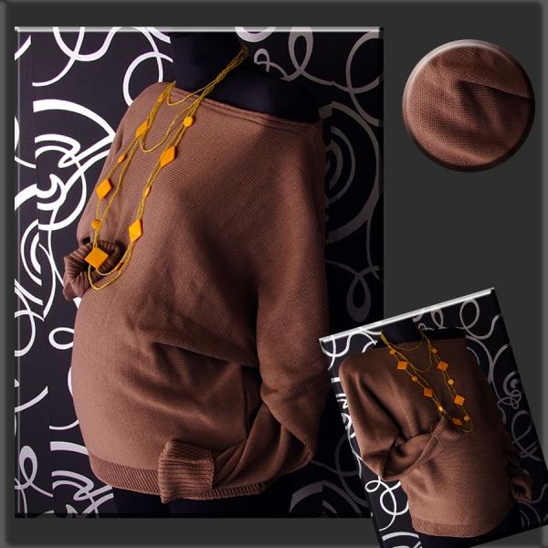 Be MaaMaa Těhotenský asymetrický svetřík - kakao