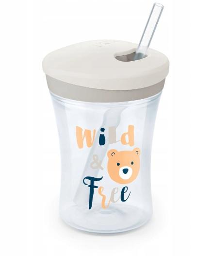 Nekapající hrneček NUK Action Cup se slámkou, 230 ml - Wild Free
