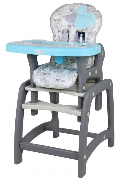 BABY MIX Jídelní židlička 2v1 - Srdce modrá