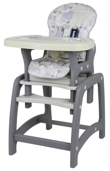 BABY MIX Jídelní židlička 2v1 - Srdce Latte