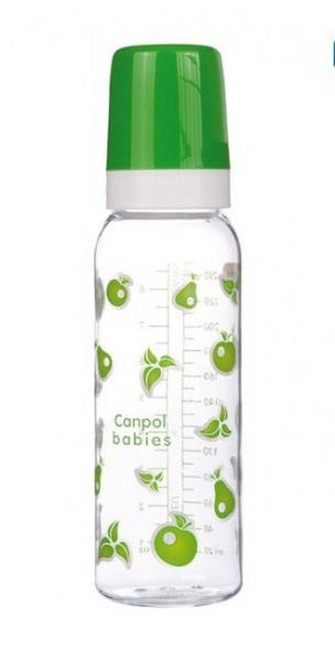 Canpol babies Lahvička s potiskem 250 ml, Ovoce - zelená