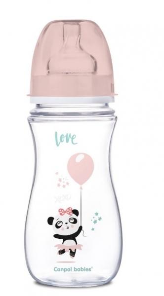 Canpol Babies Antikolik. lahvička se širokým hrdlem, Exotic Animals, 300 ml - růžová