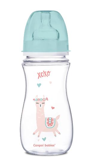Canpol Babies Antikolik. lahvička se širokým hrdlem, Exotic Animals, 300 ml - zelená