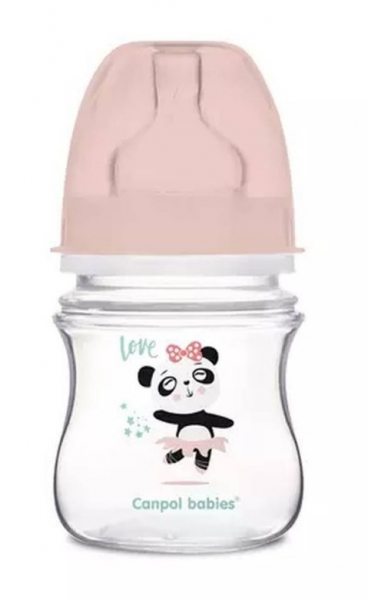 Canpol Babies Antikolik. lahvička se širokým hrdlem, Exotic Animals, 120 ml - růžová