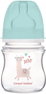Canpol Babies Antikolik. lahvička se širokým hrdlem, Exotic Animals, 120 ml - zelená