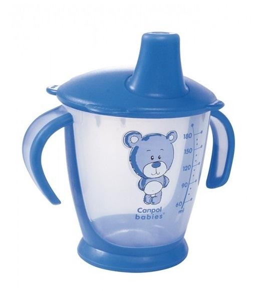 Nekapající hrneček Canpol Babies s úchyty Medvídek - modrý, 180 ml