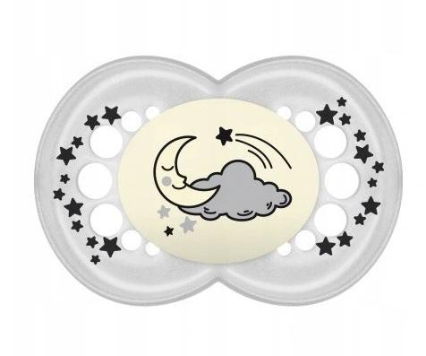 Symetrický dudlík Mam Night, svítící, měsíc a hvězdičky - ecru