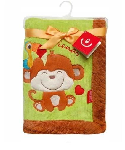 BOBO BABY Dětská deka v dárkové krabičce, 76x102 cm - Opička, zeleno-hnědá