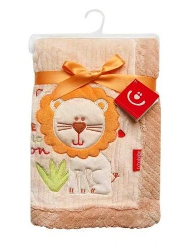BOBO BABY Dětská deka v dárkové krabičce, 76x102 cm - Lev, krémová