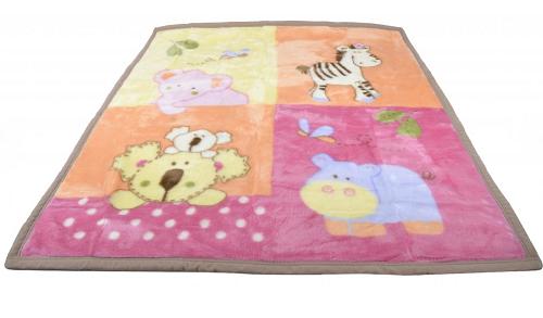 BOBO BABY Dětská akrylová deka 91x102 cm - Safari, růžová