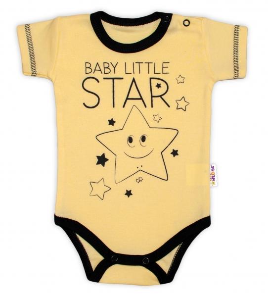 Body krátký rukáv Baby Nellys, Baby Little Star - žluté, vel. 80, Velikost: 80 (9-12m)