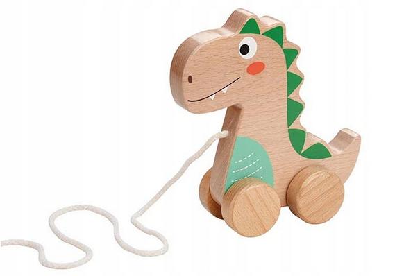 Lenin Edukační dřevěná hračka 15 cm tahací - Dinosaurus