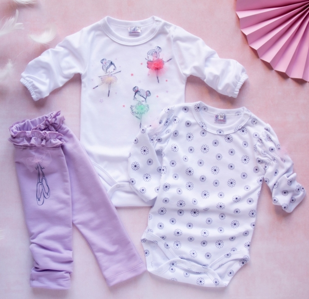K-Baby 3 dílná sada - 2x body dlouhý rukáv, tepláčky - Baletka lila, vel. 68