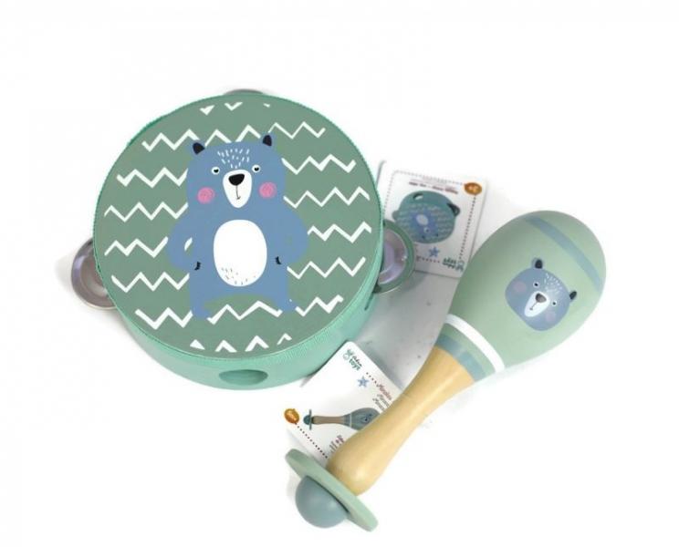 Adam Toys Dětská tamburína medvěd - modrá