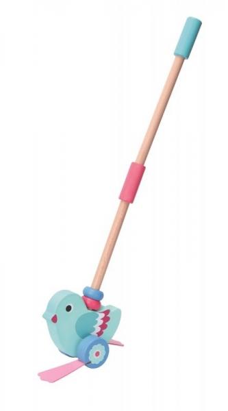Adam Toys Dřevěná jezdící hračka na tyči - PTÁČEK