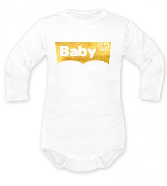 Body dlouhý rukáv Baby, bílé,  vel. 80, Velikost: 80 (9-12m)