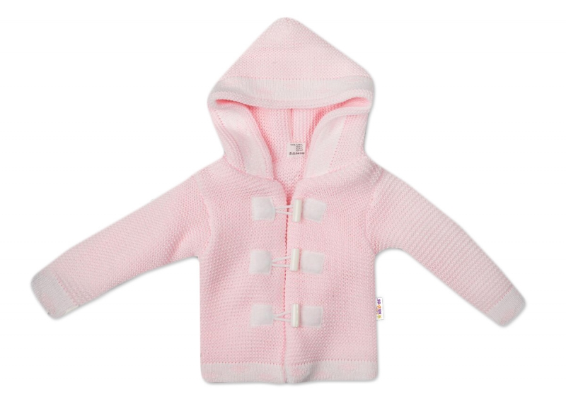 Baby Nellys Dvouvrstvý kojenecký svetřík s kapucí - růžový, vel. 74