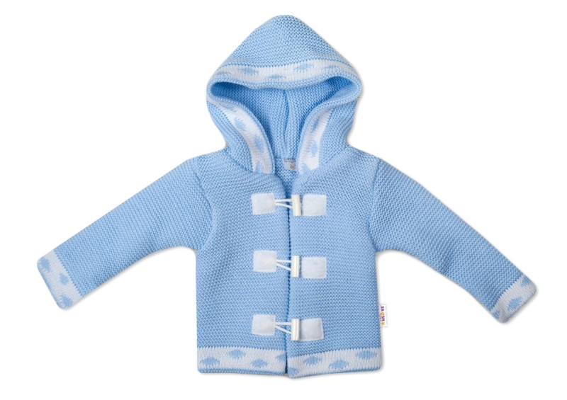 Baby Nellys Dvouvrstvý kojenecký svetřík s kapucí - modrý, vel. 80, Velikost: 80 (9-12m)