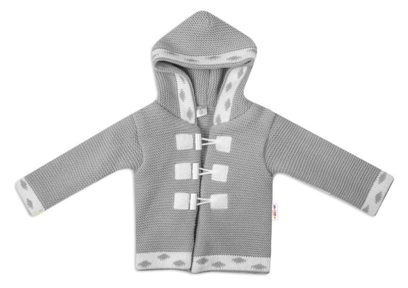 Baby Nellys Dvouvrstvá kojenecká bundička, svetřík - šedý, vel. 74