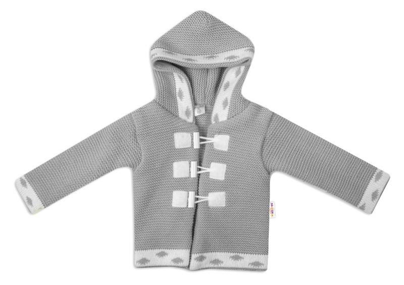 Baby Nellys Dvouvrstvý kojenecký svetřík s kapucí - šedý, vel. 80, Velikost: 80 (9-12m)