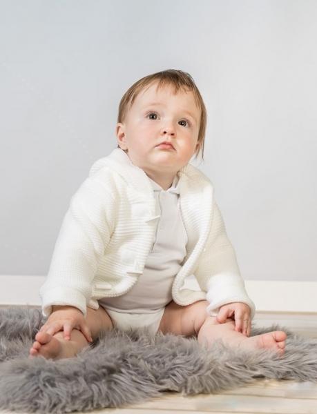Baby Nellys Dvouvrstvá kojenecká bundička, svetřík - bílý, vel. 80