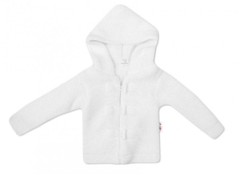 Baby Nellys Dvouvrstvá kojenecká bundička, svetřík s kapucí - bílý, vel. 86