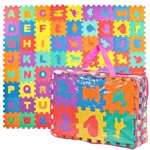 Pěnové puzzle písmena + ZOO, 72 ks