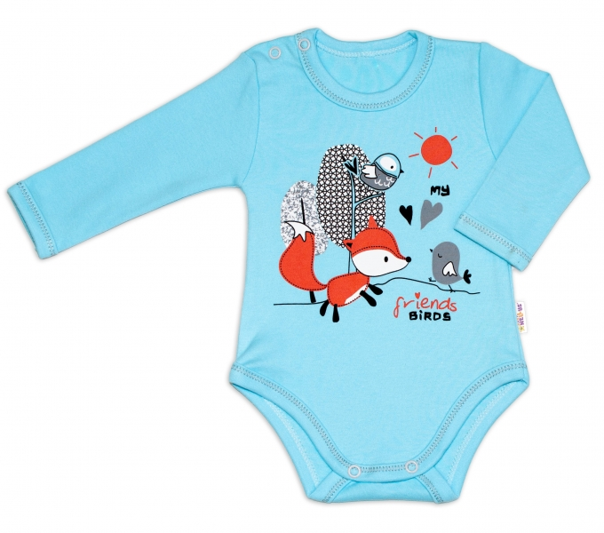Baby Nellys Bavlněné kojenecké body, dl. rukáv, Fox - tyrkysové, vel. 68