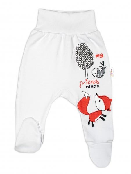 Baby Nellys Bavlněné kojenecké polodupačky, Fox - bílé, vel. 62