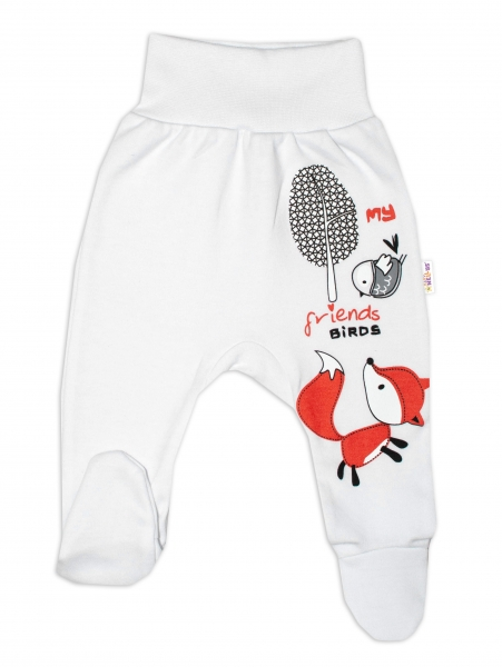 Baby Nellys Bavlněné kojenecké polodupačky, Fox - bílé, vel. 68