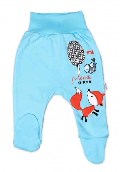 Baby Nellys Bavlněné kojenecké polodupačky, Fox - tyrkysové, vel. 86