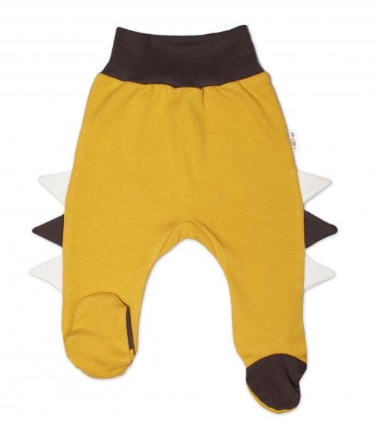 Baby Nellys Bavlněné kojenecké polodupačky, Crocodiles - hořčicové, vel. 62
