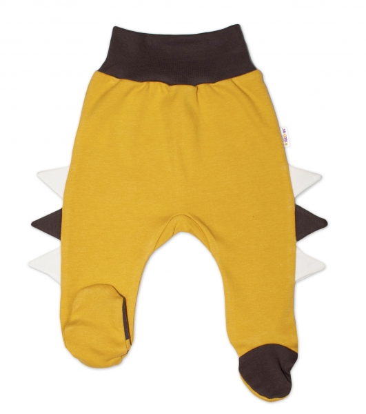 Baby Nellys Bavlněné kojenecké polodupačky, Crocodiles - hořčicové, vel. 80
