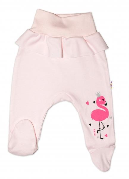 Baby Nellys Bavlněné kojenecké polodupačky, Flamingo s volánkem - růžové