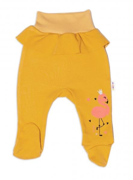 Baby Nellys Bavlněné kojenecké polodupačky, Flamingo s volánkem - hořčicové